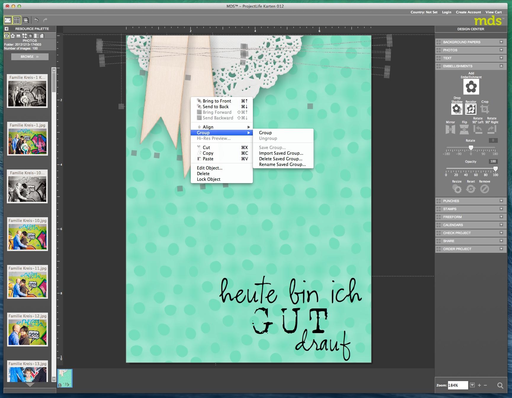 My Digital Studio Objekte gruppieren Bild1