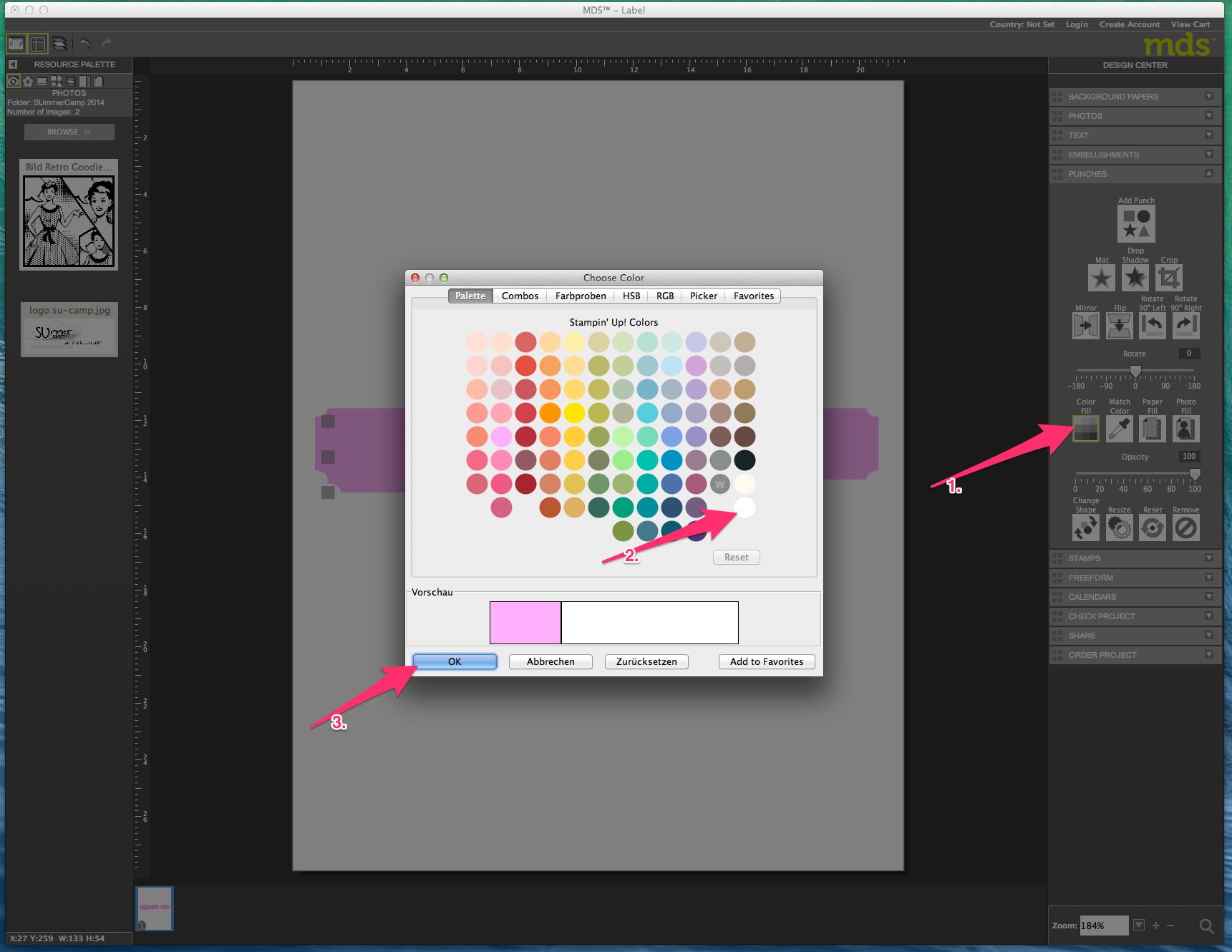 My digital Studio (MDS) Label erstellen und ausdrucken Detail14