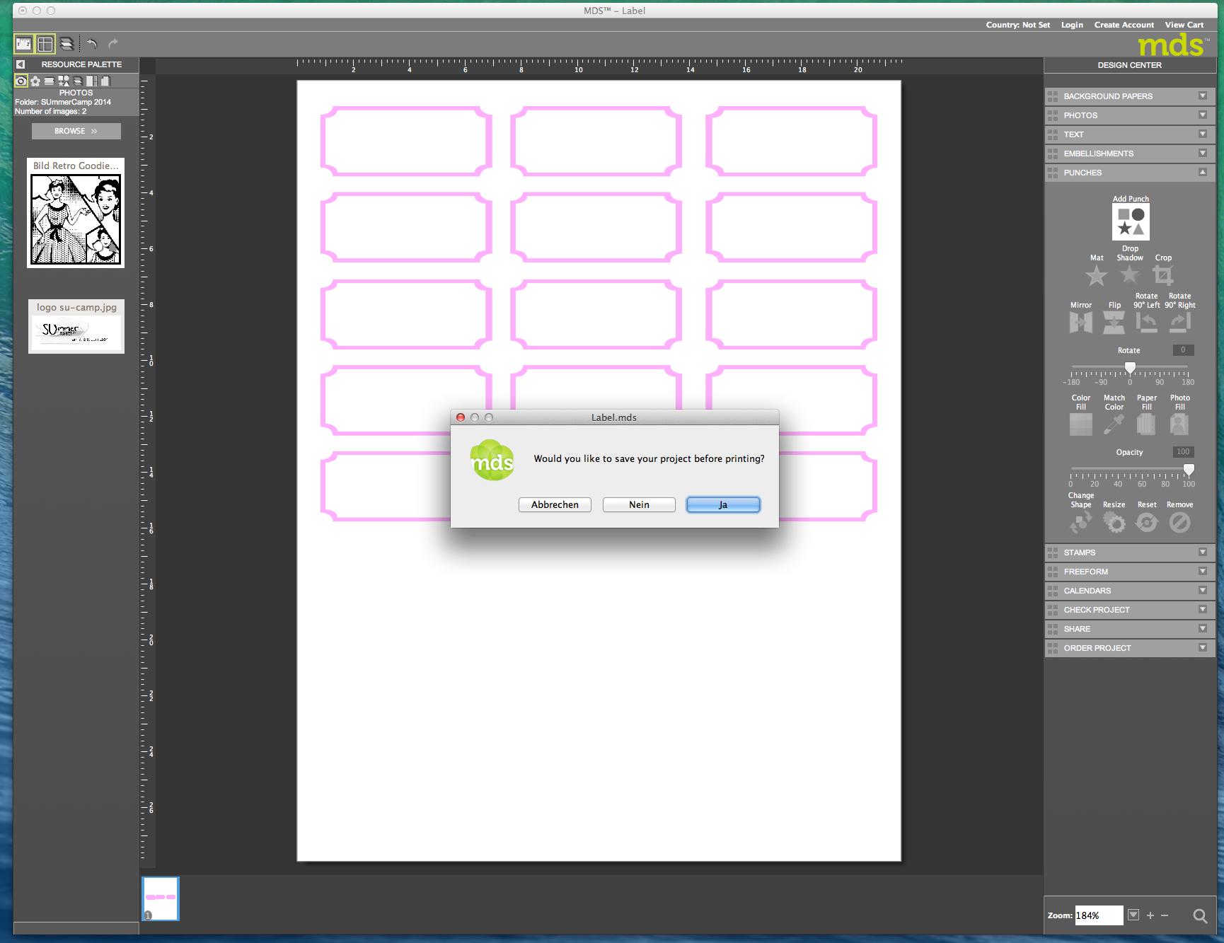 My digital Studio (MDS) Label erstellen und ausdrucken Detail25