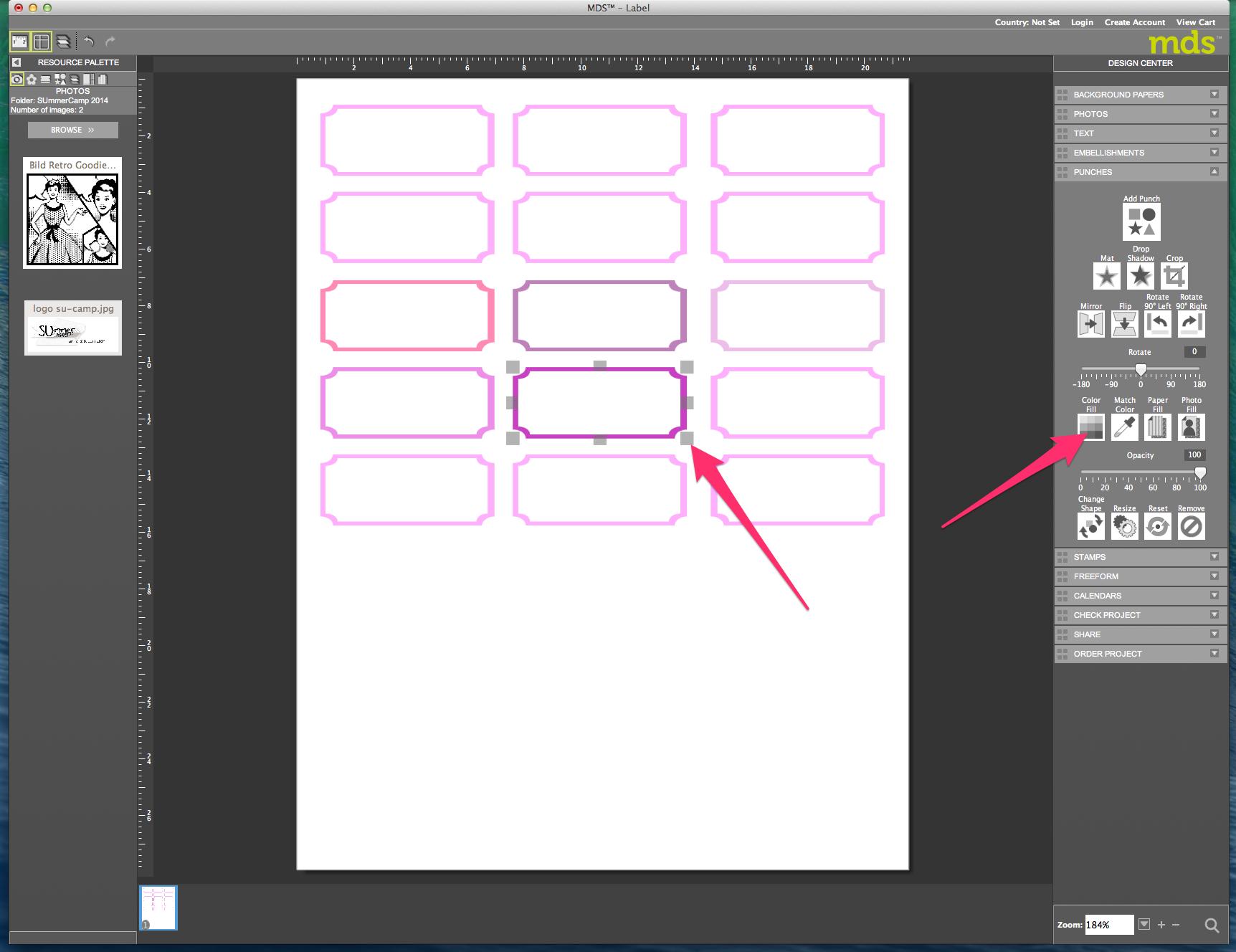 My digital Studio (MDS) Label erstellen und ausdrucken Detail28