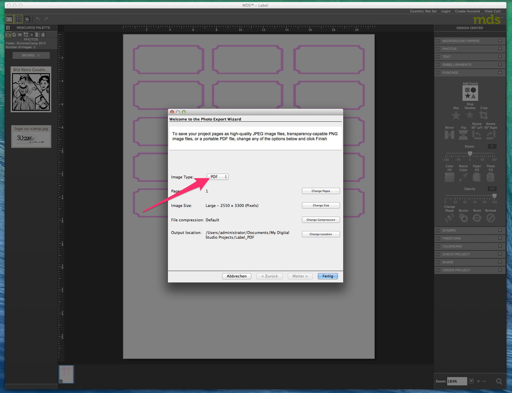 My digital Studio (MDS) Label erstellen und ausdrucken Detail26