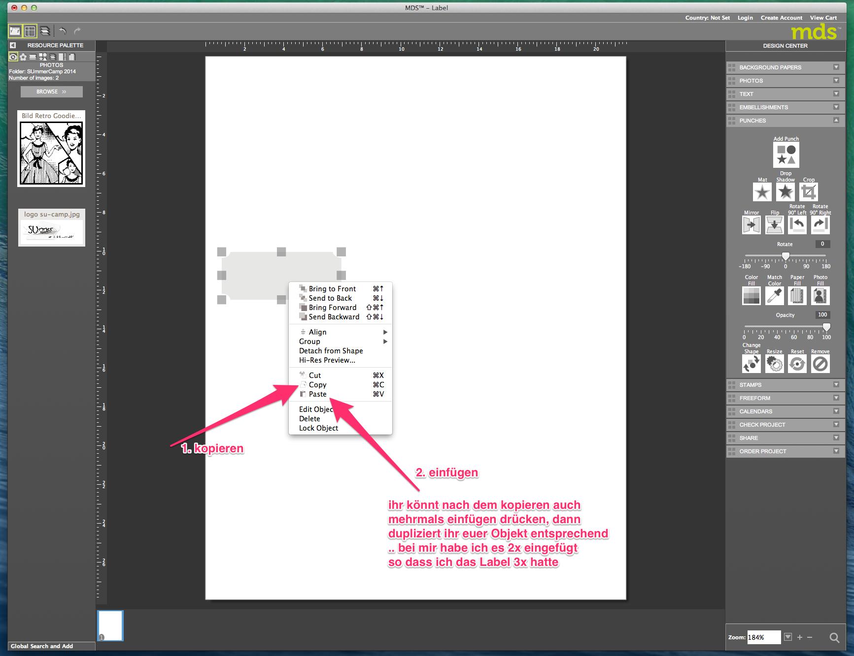 My digital Studio (MDS) Label erstellen und ausdrucken Detail05