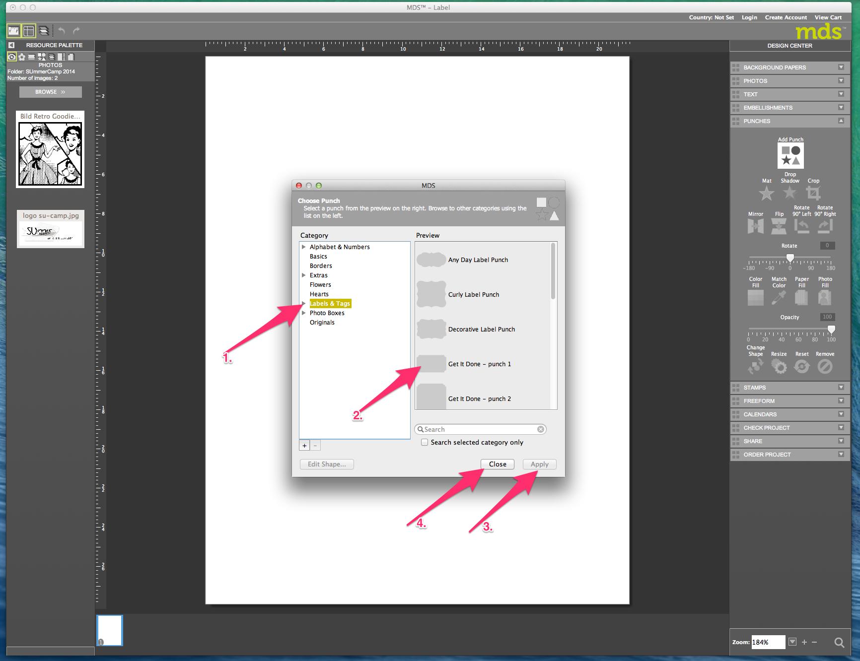 My digital Studio (MDS) Label erstellen und ausdrucken Detail02