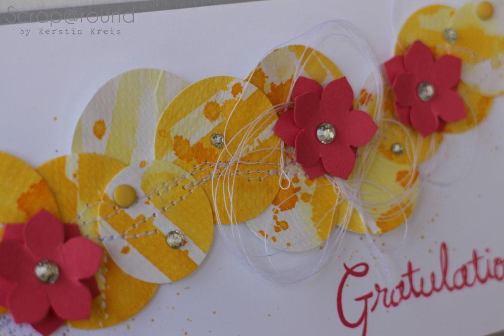 Karte Geburtstag WaterColor u kleine Blüte Detailbild