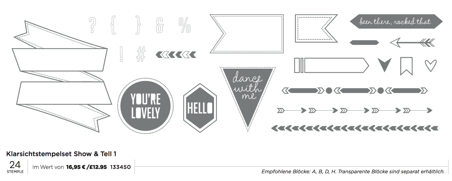 "Stampin´Up! Aktion Mai 2014 Clearstamps Set ""Show&Tell 1"""