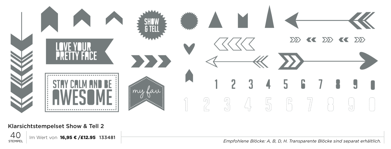 "Stampin´Up! Aktion Mai 2014 Clearstamps Set ""Show&Tell 2"""