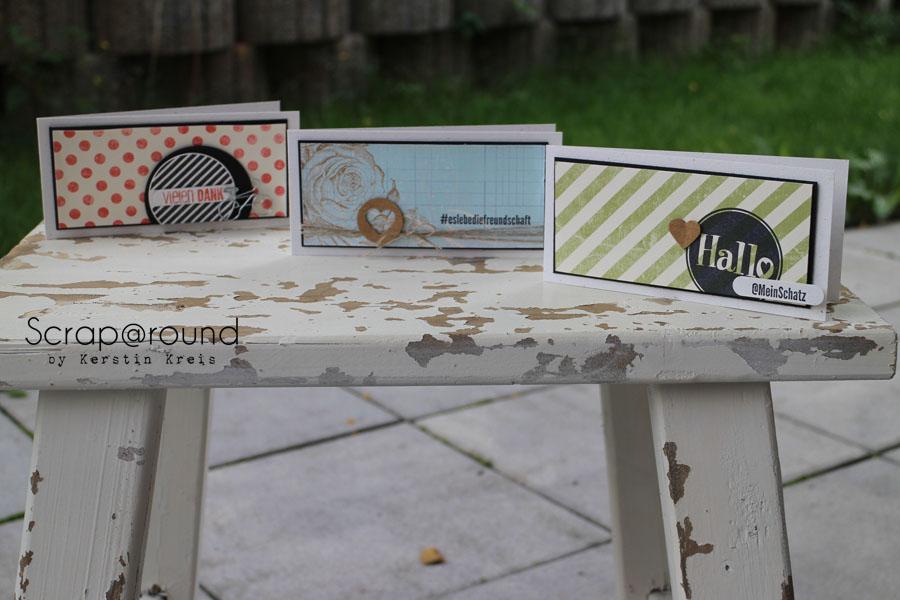 Kartentrio Stampin´ Up! Stempelset #hallo und DesignerPapier Flohmarkt
