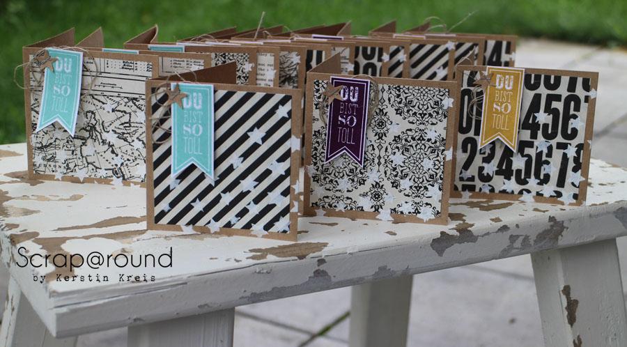 """Stamping & Blogging DT Sketch66 Karten mit Stampin´ Up! Stempelset """"Wimpeleien"""" und DesignerPapier """"Erstausgabe"""""""