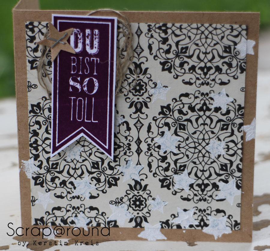 """Stamping & Blogging DT Sketch66 Karte mit Stampin´ Up! Stempelset """"Wimpeleien"""" und DesignerPapier """"Erstausgabe"""" Detailbild2"""