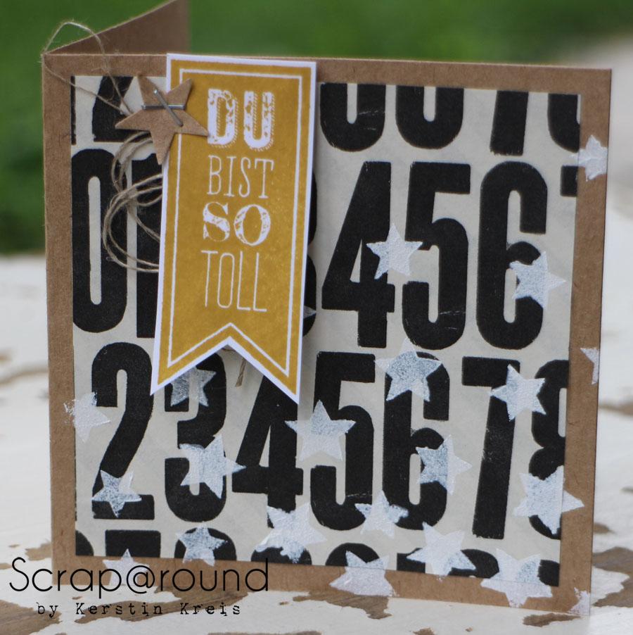 """Stamping & Blogging DT Sketch66 Karte mit Stampin´ Up! Stempelset """"Wimpeleien"""" und DesignerPapier """"Erstausgabe"""" Detailbild1"""