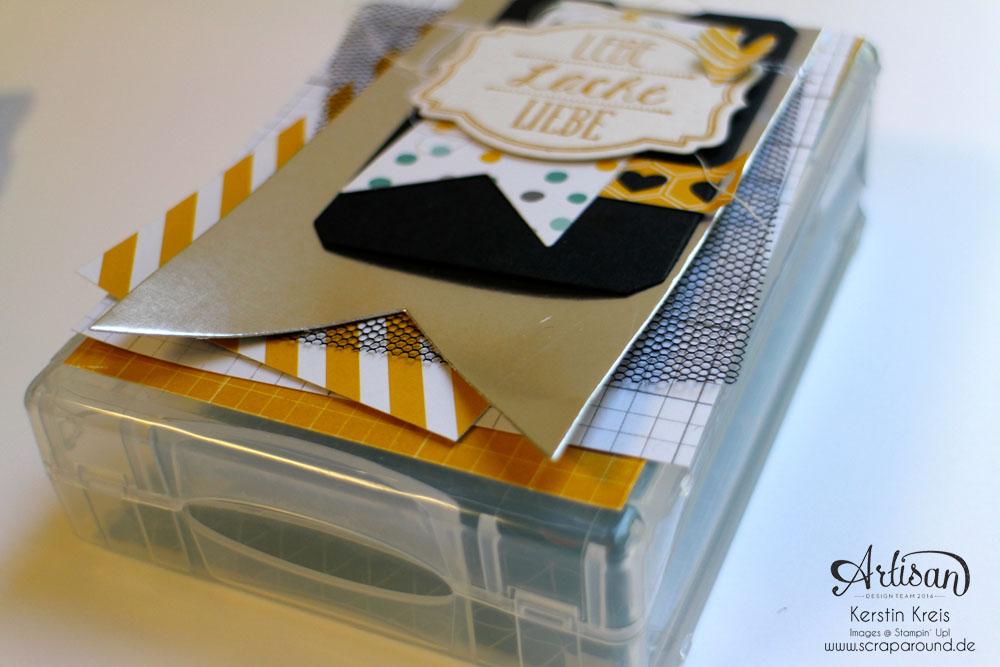 """MiniAlbum Wimpelkette """"Happy Birthday"""" mit Designerpapier """"Mondschein"""" Detailbild03"""