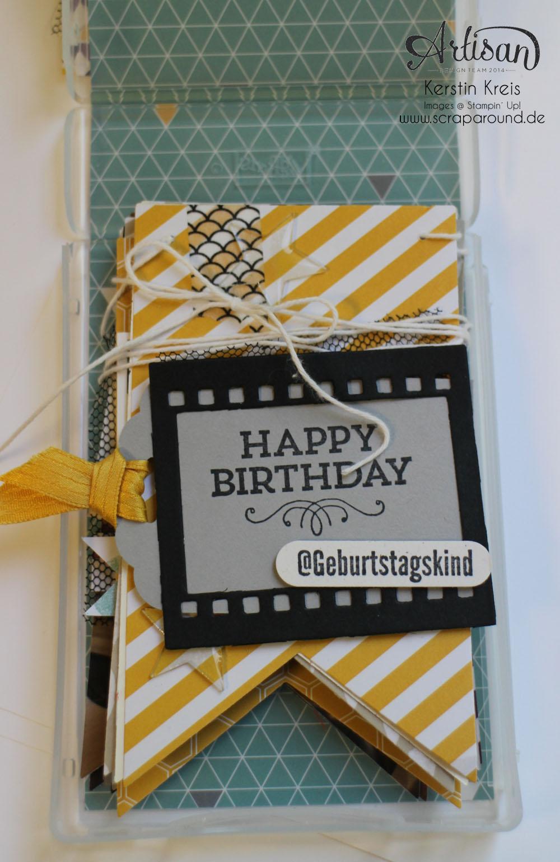 """MiniAlbum Wimpelkette """"Happy Birthday"""" mit Designerpapier """"Mondschein"""" Detailbild01"""