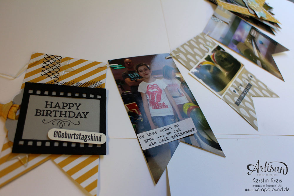 """MiniAlbum Wimpelkette """"Happy Birthday"""" mit Designerpapier """"Mondschein"""" Detailbild05"""
