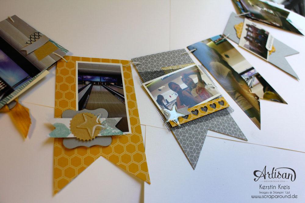 """MiniAlbum Wimpelkette """"Happy Birthday"""" mit Designerpapier """"Mondschein"""" Detailbild06"""