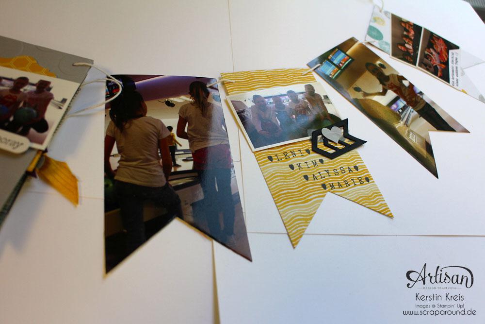 """MiniAlbum Wimpelkette """"Happy Birthday"""" mit Designerpapier """"Mondschein"""" Detailbild07"""