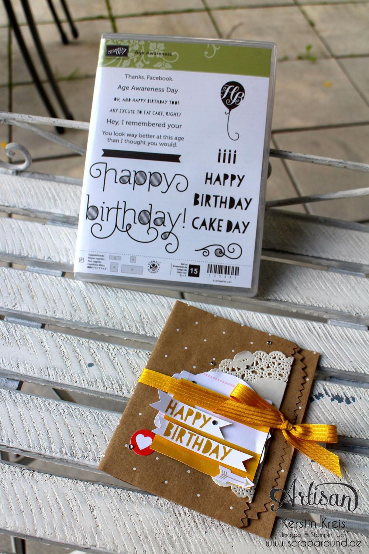 """Stamping & Blogging DT Sketch69 Karte mit Stampin´ Up! Geschenktüte """"Polka Dot"""" und Stempelset """"Age Awareness"""" Detailbild1"""