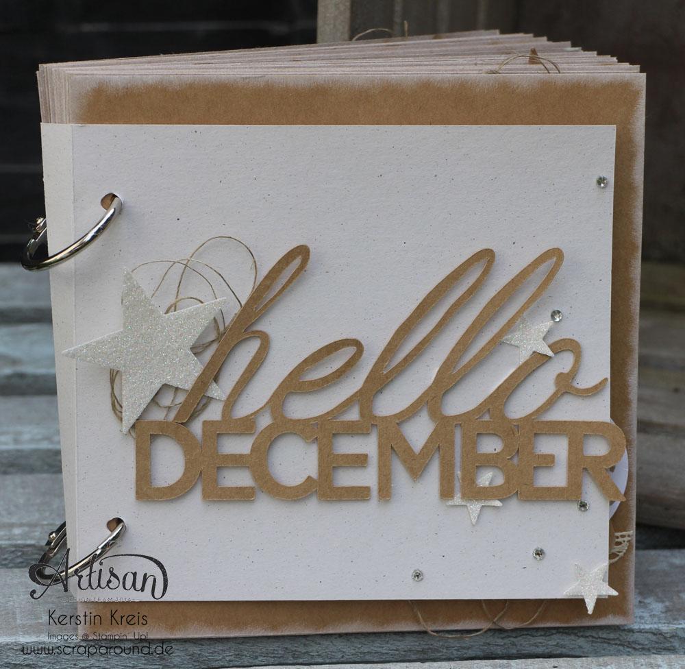 "MiniAlbum KitClub 092014 ""hello december"" Dezember-Tagebuch aus Kraft Cardstock"
