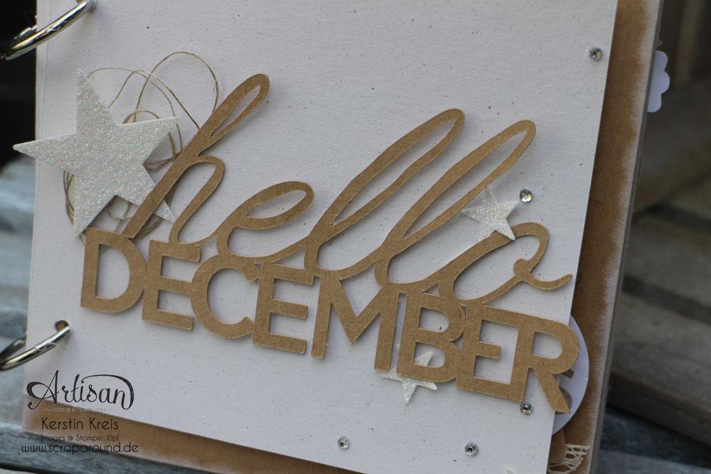 "MiniAlbum KitClub 092014 ""hello december"" Dezember-Tagebuch aus Kraft Cardstock Detailbild01"
