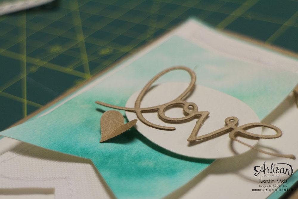 """Stamping & Blogging DT Sketch73 Aquarell-Karte """"love"""" mit Kraft-Cardstock und Canvas Detailbild2"""