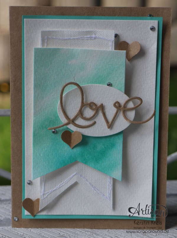 "Stamping & Blogging DT Sketch73 Aquarell-Karte ""love"" mit Kraft-Cardstock und Canvas"