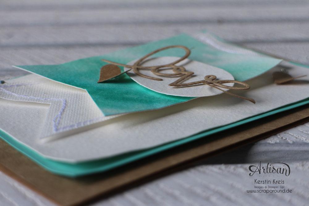 """Stamping & Blogging DT Sketch73 Aquarell-Karte """"love"""" mit Kraft-Cardstock und Canvas Detailbild6"""