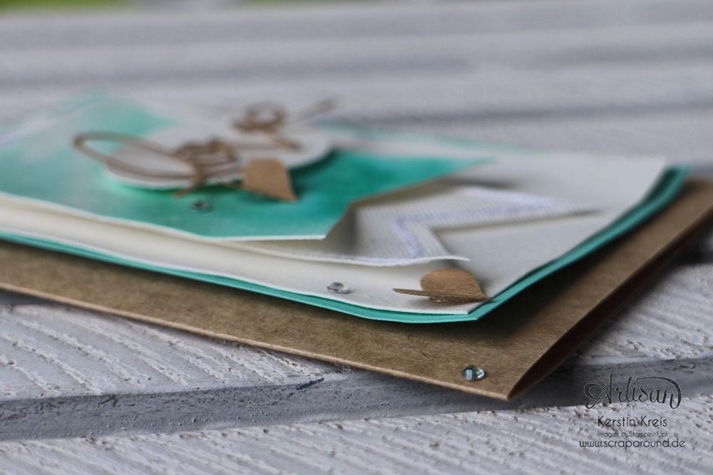 """Stamping & Blogging DT Sketch73 Aquarell-Karte """"love"""" mit Kraft-Cardstock und Canvas Detailbild5"""