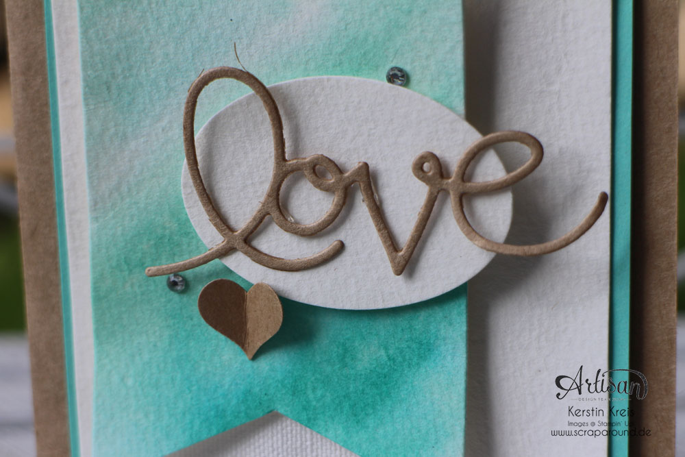 "Stamping & Blogging DT Sketch73 Aquarell-Karte ""love"" mit Kraft-Cardstock und Canvas Detailbild1"
