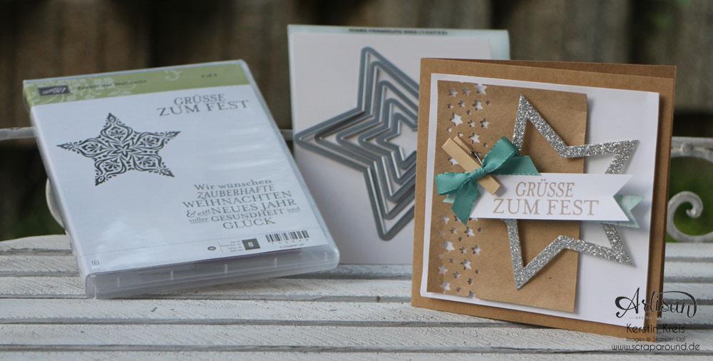 """Stamping & Blogging DT Sketch74 Karte """"Grüße zum Fest"""" mit Kraft-Cardstock und Glitzerstern"""