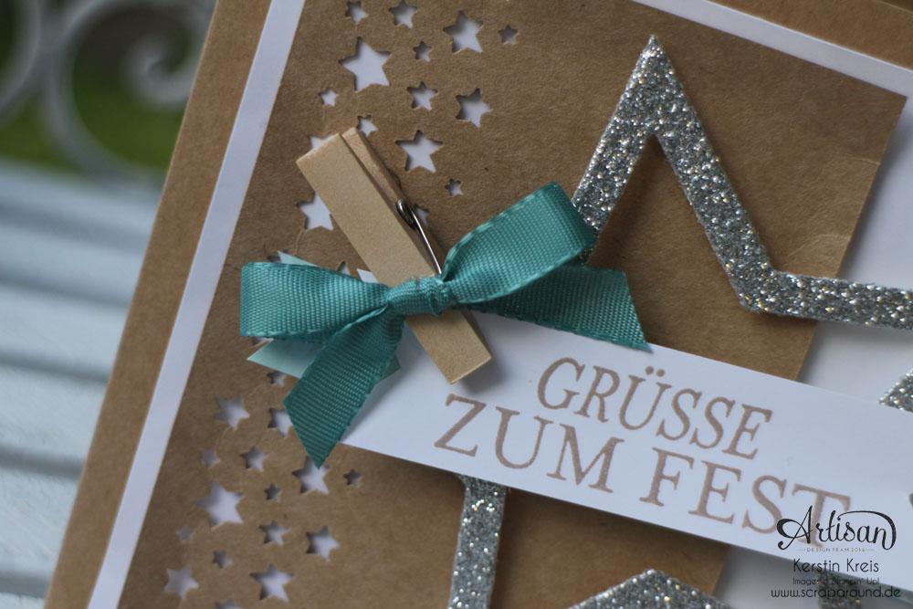 """Stamping & Blogging DT Sketch74 Karte """"Grüße zum Fest"""" mit Kraft-Cardstock und Glitzerten Detailbild2"""