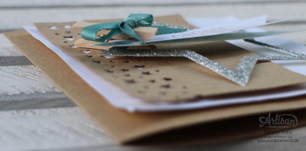 """Stamping & Blogging DT Sketch74 Karte """"Grüße zum Fest"""" mit Kraft-Cardstock und Glitzerten Detailbild3"""
