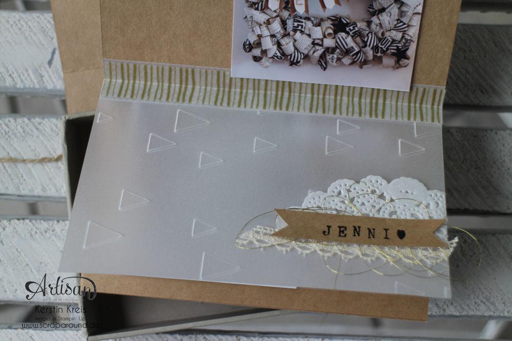 Memories in a Box – Stampin´ Up! Artisan DesignTeam BlogHop 09.10.2014 – MiniAlbum in der Box mit Kraft Cardstock und Gold-Transparentpapier Detailbild07
