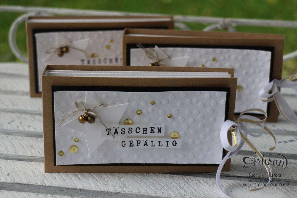 """""""Tässchen gefällig?"""" - Stampin´ Up! Artisan DesignTeam BlogHop 23.10.2014 - Teebeutelbuch aus Kraft-Cardstock und Prägefolder """"Punkteregen"""""""