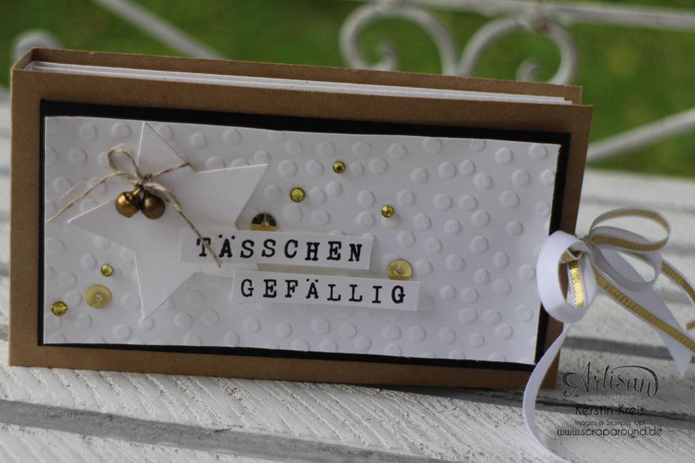 """""""Tässchen gefällig?"""" - Stampin´ Up! Artisan DesignTeam BlogHop 23.10.2014 - Teebeutelbuch aus Kraft-Cardstock und Prägefolder """"Punkteregen"""" Detailbild1"""
