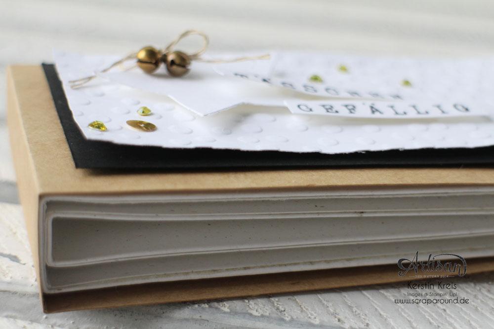 """""""Tässchen gefällig?"""" - Stampin´ Up! Artisan DesignTeam BlogHop 23.10.2014 - Teebeutelbuch aus Kraft-Cardstock und Prägefolder """"Punkteregen"""" Detailbild3"""