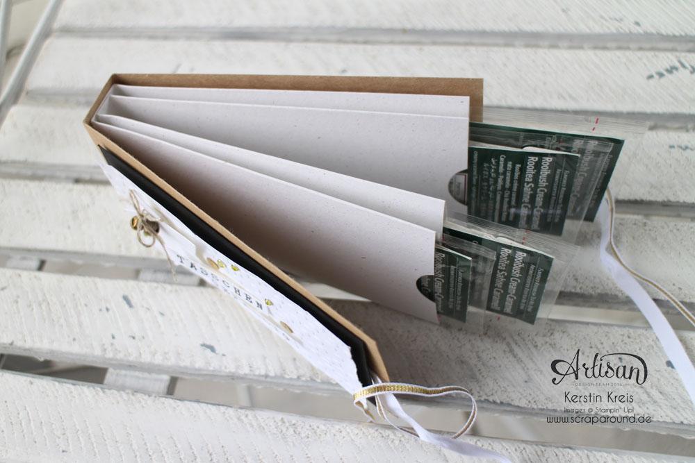 """""""Tässchen gefällig?"""" - Stampin´ Up! Artisan DesignTeam BlogHop 23.10.2014 - Teebeutelbuch aus Kraft-Cardstock und Prägefolder """"Punkteregen"""" Detailbild2"""