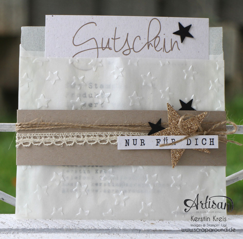 """Stampin´ Up! Artisan DesignTeam BlogHop 30.10.2014 - Gutschein-Verpackung aus Pergamintüte und Prägefolder """"Glückssterne"""""""