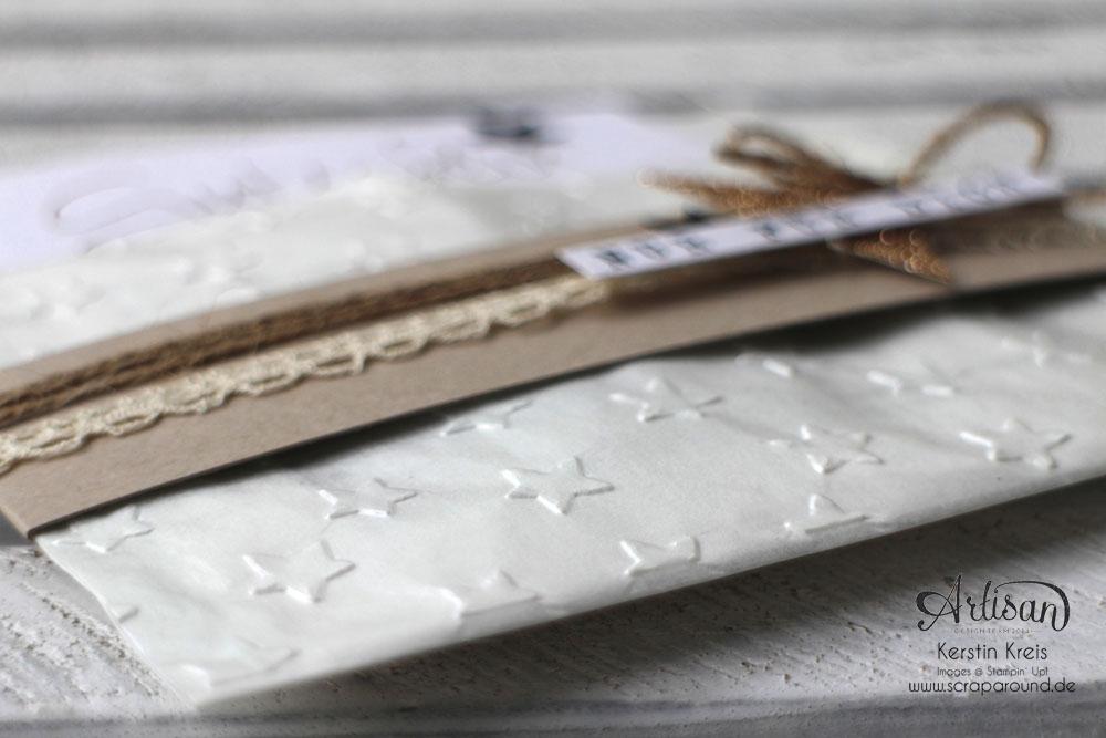 """Stampin´ Up! Artisan DesignTeam BlogHop 30.10.2014 - Gutschein-Verpackung aus Pergamintüte und Prägefolder """"Glückssterne"""" Detailbild2"""