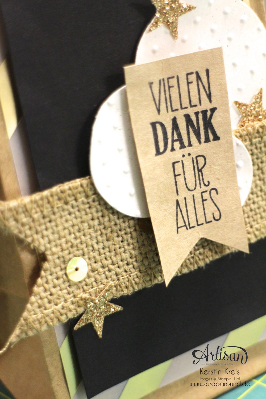 """Stamping & Blogging DT Sketch76 Geschenktüte Kaffeehaus """"Danke"""" mit Juteband und Goldpapier  Detailbild2"""