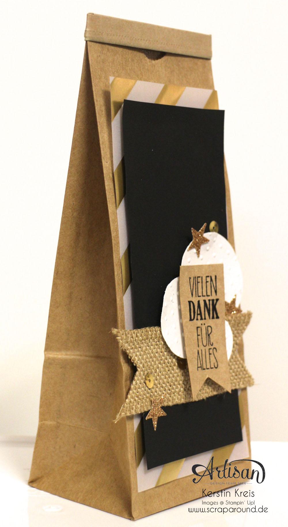 """Stamping & Blogging DT Sketch76 Geschenktüte Kaffeehaus """"Danke"""" mit Juteband und Goldpapier  Detailbild1"""