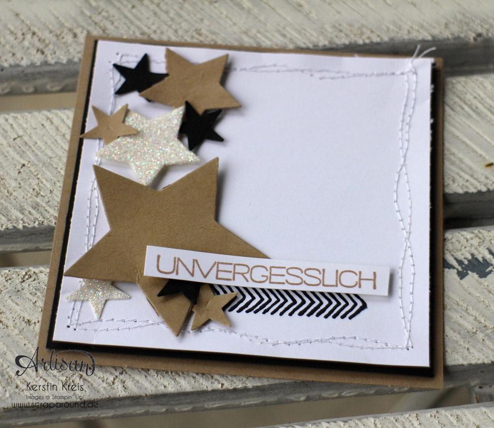 """Stamping & Blogging DT Sketch79 Karte """"unvergesslich"""" mit Sternen-Framelits und Set """"Erlebnisse"""""""