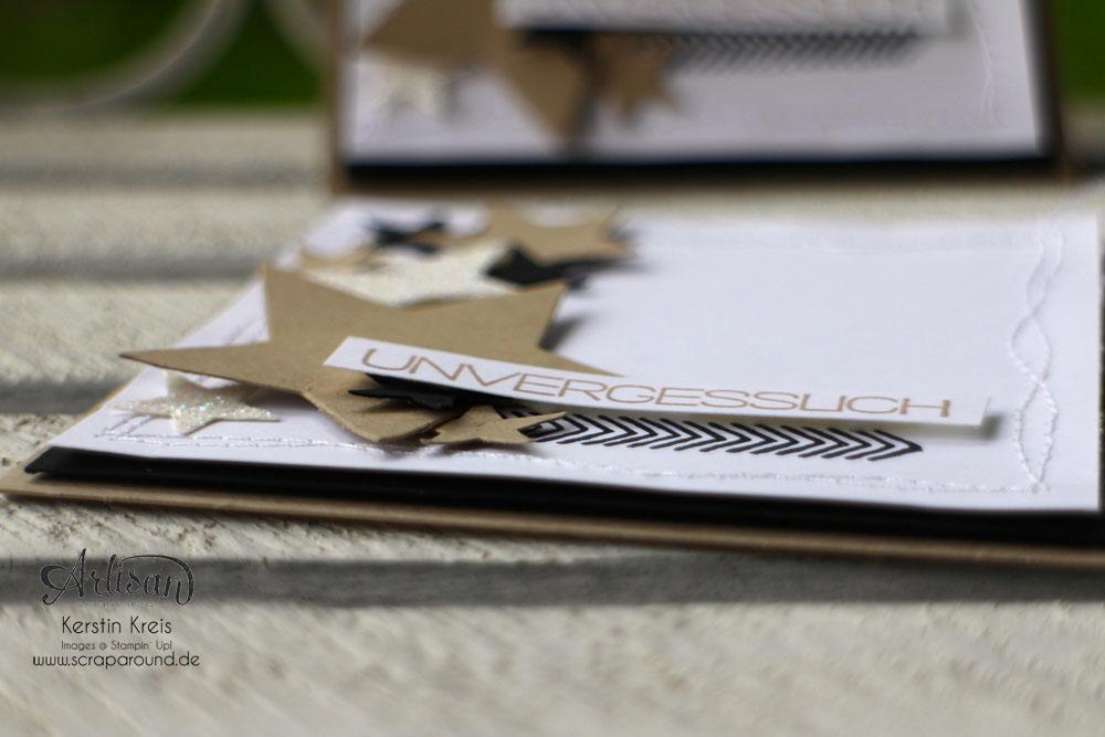 """Stamping & Blogging DT Sketch79 Karte """"unvergesslich"""" mit Sternen-Framelits und Set """"Erlebnisse"""" Detailbild2"""