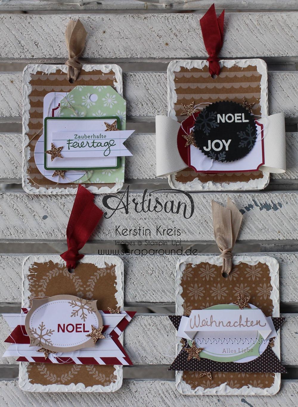 """""""Geschenk-Anhänger"""" - Stampin´ Up! Artisan DesignTeam BlogHop 27.11.2014 - Geschenk-Anhänger mit Acrylfarbe und Designer-Papier """"Unterm Christbaum"""""""