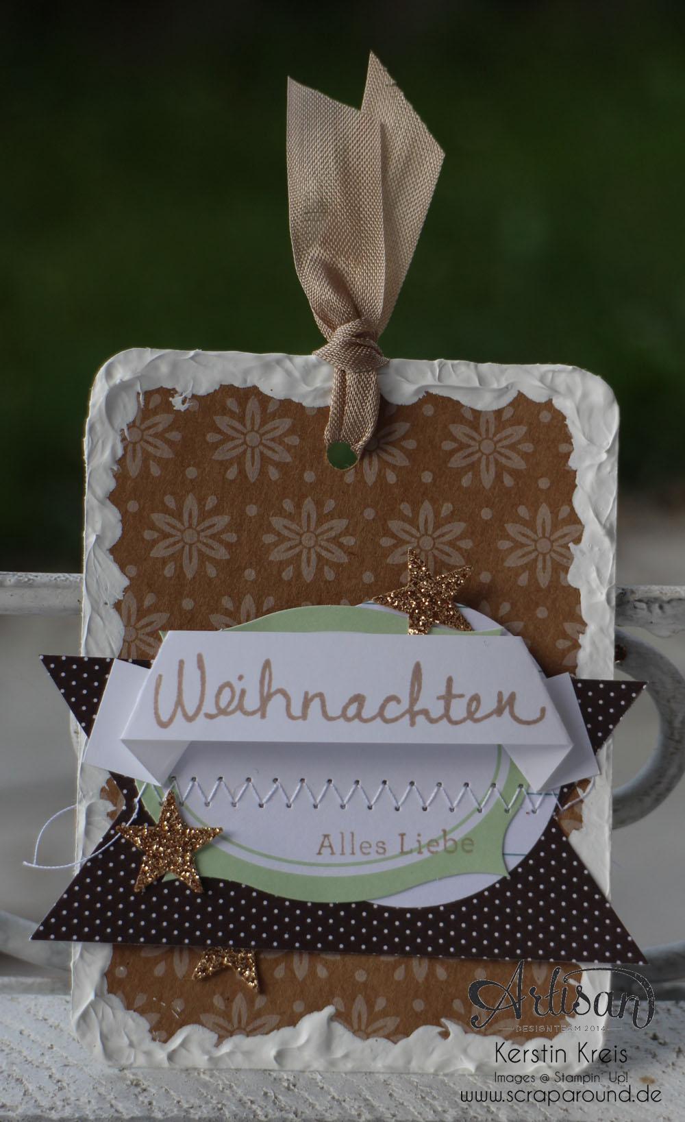 """""""Geschenk-Anhänger"""" - Stampin´ Up! Artisan DesignTeam BlogHop 27.11.2014 - Geschenk-Anhänger mit Acrylfarbe und Designer-Papier """"Unterm Christbaum"""" Detailbild2"""