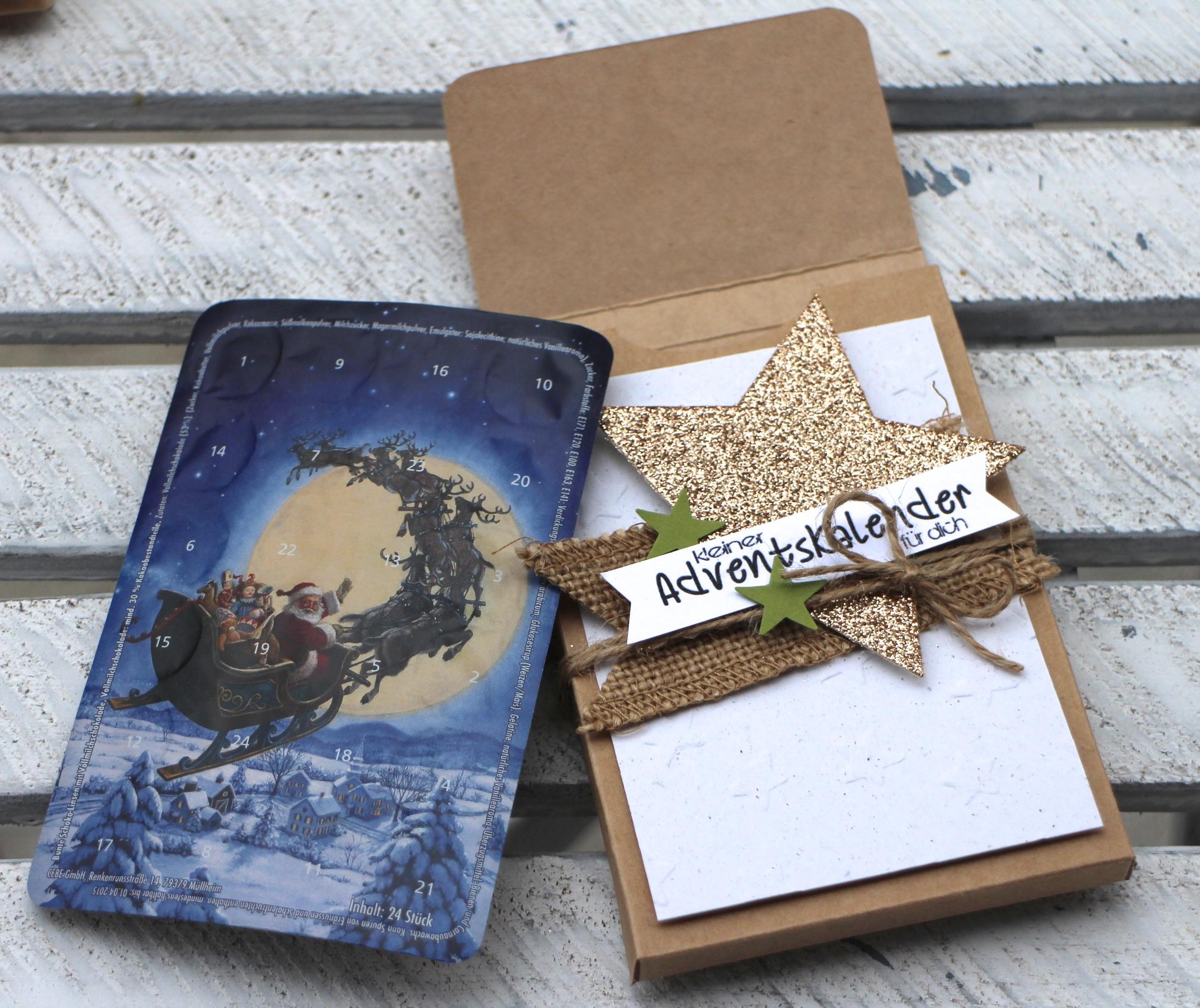 """""""Adventskalender to go"""" - Stampin´ Up! Artisan DesignTeam BlogHop 13.11.2014 - Verpackung mit Prägefolder """"Glückssterne"""" und Juteband Detailbild05"""