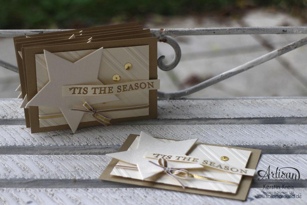 """Stamping & Blogging DT Sketch80 Karte """"´tis the season"""" mit Mattgold und Spezialpappe und Prägefolder """"Schrägstreifen"""" Detailbild1"""