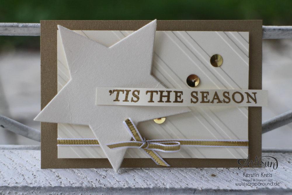 """Stamping & Blogging DT Sketch80 Karte """"´tis the season"""" mit Mattgold und Spezialpappe und Prägefolder """"Schrägstreifen"""""""