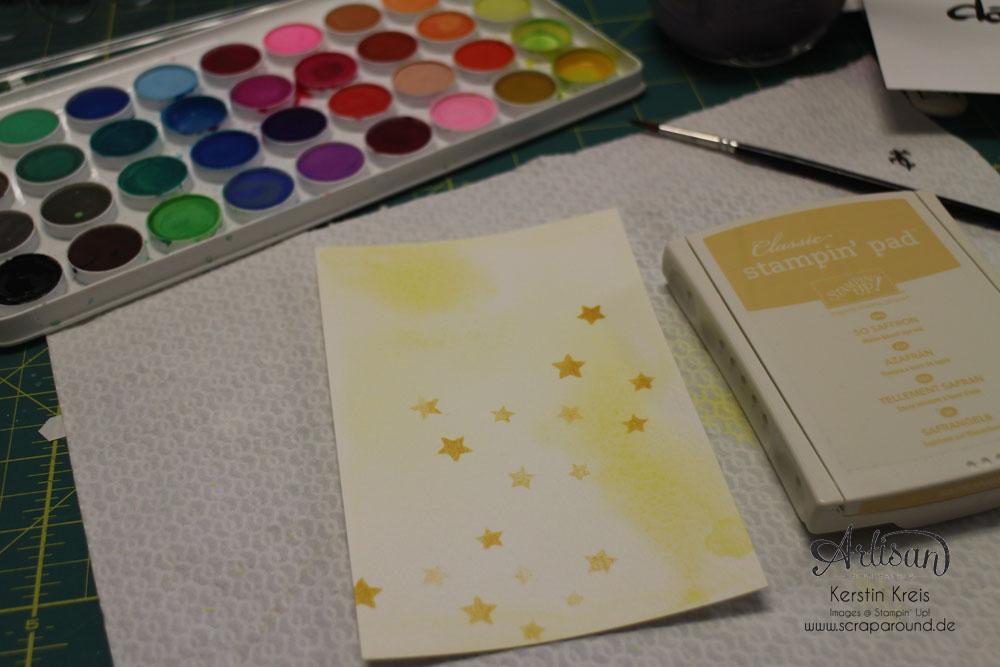 """Stamping & Blogging DT Sketch82 Karte """"yeah"""" mit Wasserfarben und Aquarellpapier Detailbild3"""