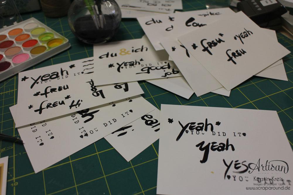 """Stamping & Blogging DT Sketch82 Karte """"yeah"""" mit Wasserfarben und Aquarellpapier Detailbild2"""