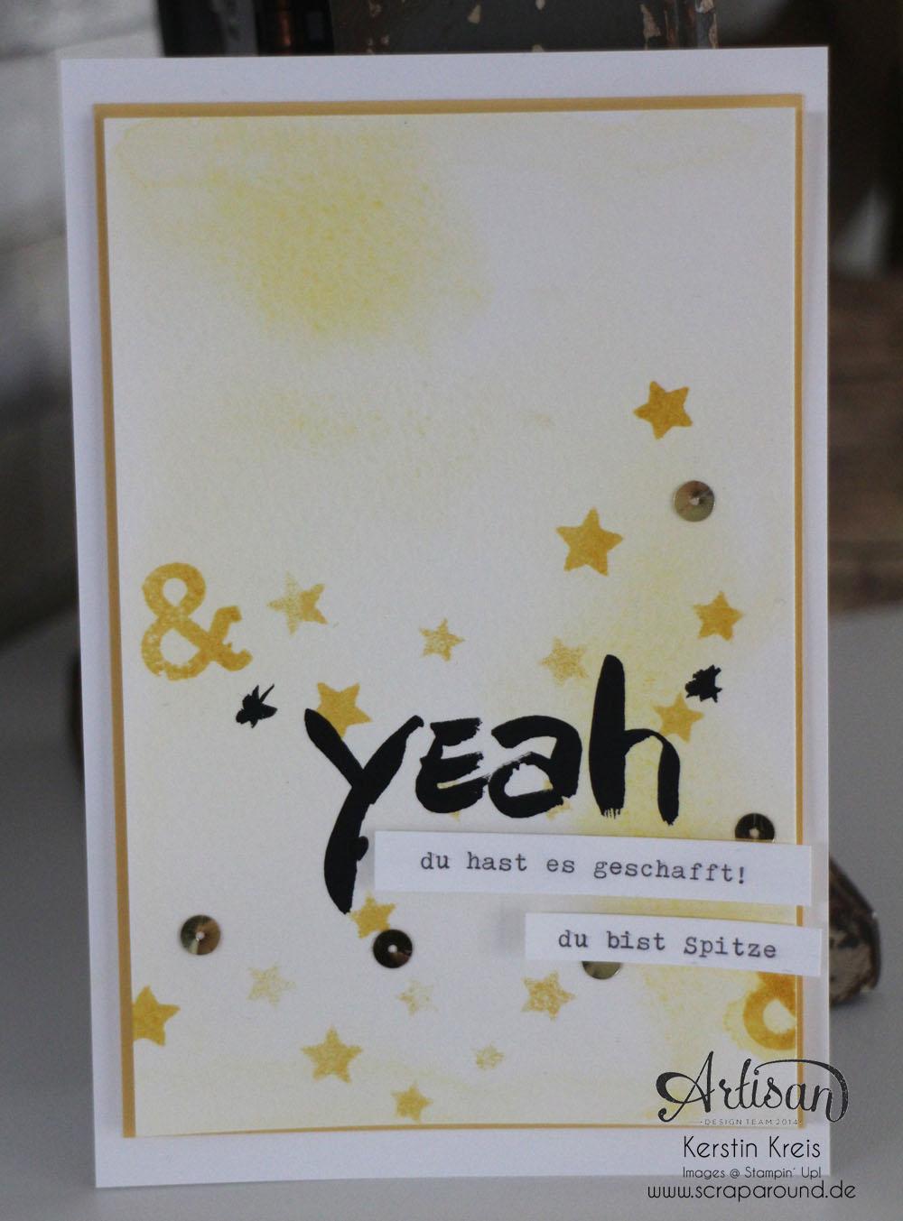 """Stamping & Blogging DT Sketch82 Karte """"yeah"""" mit Wasserfarben und Aquarellpapier"""