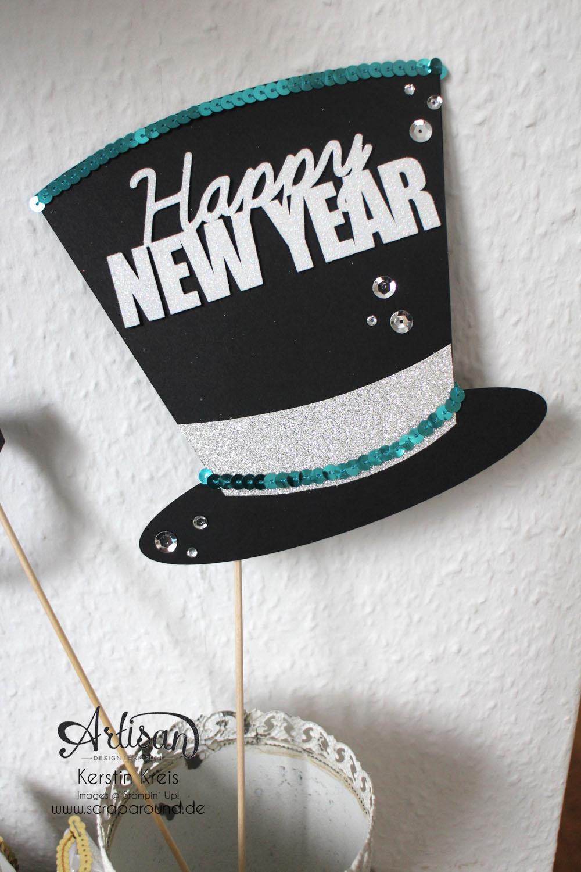 """""""Happy New Year 2015"""" - Stampin´ Up! Artisan DesignTeam BlogHop 01.01.2015 - Silvester-Deko mit viel Gold und Silber und Glitzerpapieren Detailbild5"""